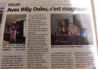 Billy magie spectacle callas 2016