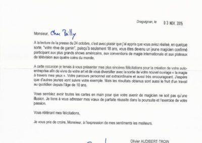 lettre olivier audibert troin