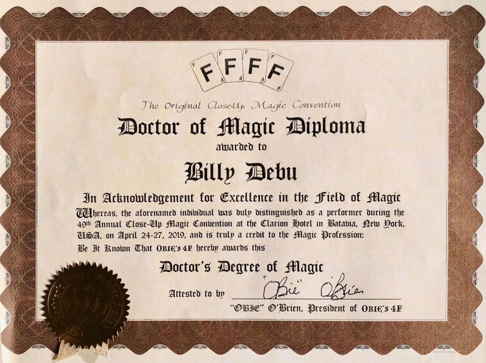 Diplôme - Doctorat de Magie de Billy DEBU