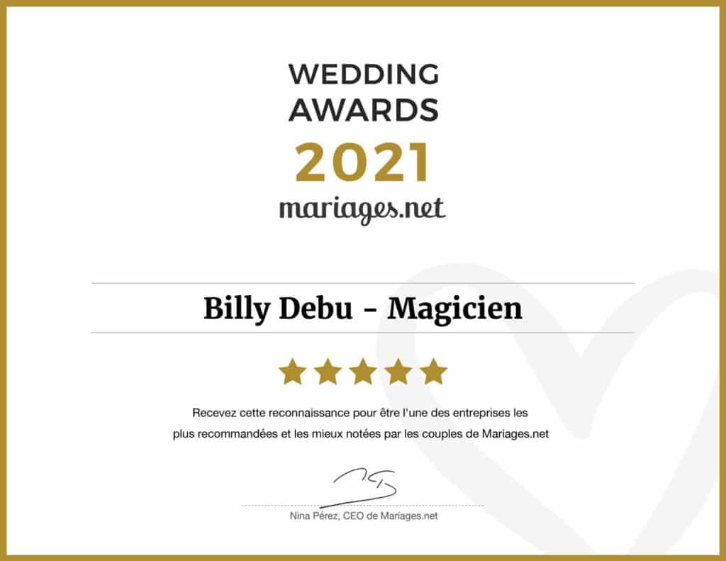 """Billy DEBU remporte le 1er prix aux wedding awards 2021 """"meilleur entreprise d'animation de Mariages"""""""